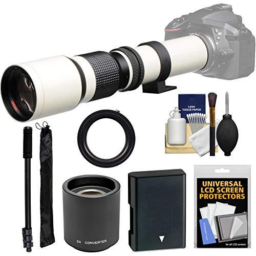 Vivitar 500mm f/8.0 Telephoto Lens (T Mount) (White) with 2X Teleconverter (=1000mm) + EN-EL14 Battery + Monopod + Kit for D3300, D3400, D5300, D5500, D5600 by Vivitar (Image #9)