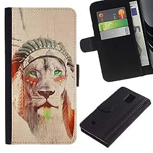 KingStore / Leather Etui en cuir / Samsung Galaxy Note 4 IV / Indien de l'Amérique Sépia Feather