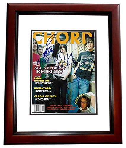 The All American Rejects Signed - Autographed Complete Group Chrod Magazine MAHOGANY CUSTOM FRAME - Tyson Ritter, Nick Wheeler, Mike Kennerty, and Chris Gaylor