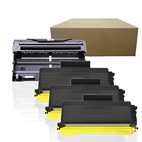 Inktoneram Compatible Toner Cartridges & Drum Replacement for Brother TN580 TN550 DR520 DR-520 TN-580 TN-550 HL-5240 HL-5250 HL-5250DN HL-5250DNT HL5280 HL-5280DW MFC8460N MFC8660DN (Drum,3-Toner,4PK)