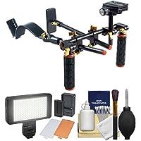 DLC V2 HD-DSLR Camera Video Rig Shoulder Brace Stabilizer with LED Video Light + Cleaning Kit