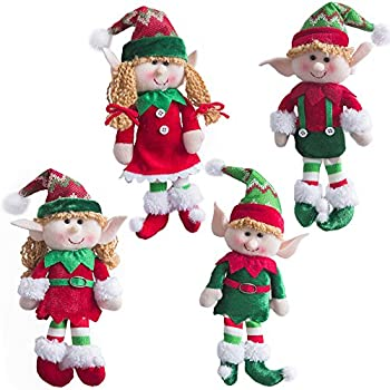 wewill adorable flexible christmas elves dolls set of 4 party home decoration holiday plush characters