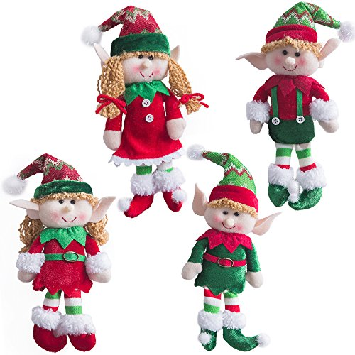 WEWILL Adorable Flexible Christmas Elves Dolls -Set of 4 Party Home Decoration Holiday Plush Characters 12-Inch (All Christmas Stuff)