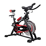 Crystal Ultra-silence Indoor Upright Cycling Bike with LCD Monitor Exercise Bike for Health and Fitness-Black&Red For Sale