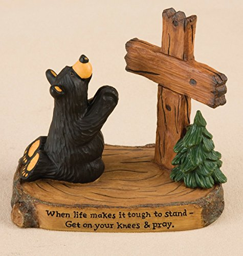 DEMDACO Pray Black Bear 5 x 5.5 Hand-cast Resin Figurine Sculpture -