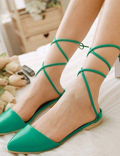 ShangYi Women's Shoes Leatherette Flat Heel Mule / Novelty Flats Casual / Dress Black / Green / Red Red