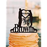 Wedding Cake Toppers Mr and Mrs Personalized Last Name Date Bride and Groom Heart Pose with Dog Keepsake Wedding Gifts for Couples