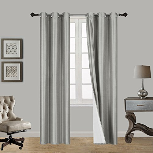 LuxuryDiscounts 2 Piece Thick Faux Silk Blackout Insulated Room Darkening Grommet Top Window Curtain Panel Drapes with Foam Back Layer Protection (Gray, 37