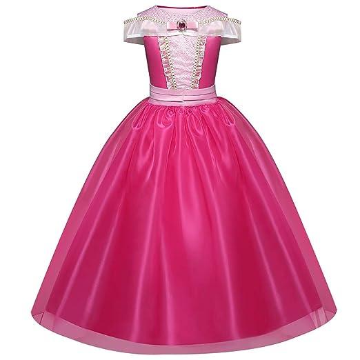 Vestido de princesa Vestido para niños La bella durmiente Disfraces de Halloween Manga de cumpleaños linda Vestir Cosplay de poliéster para ...