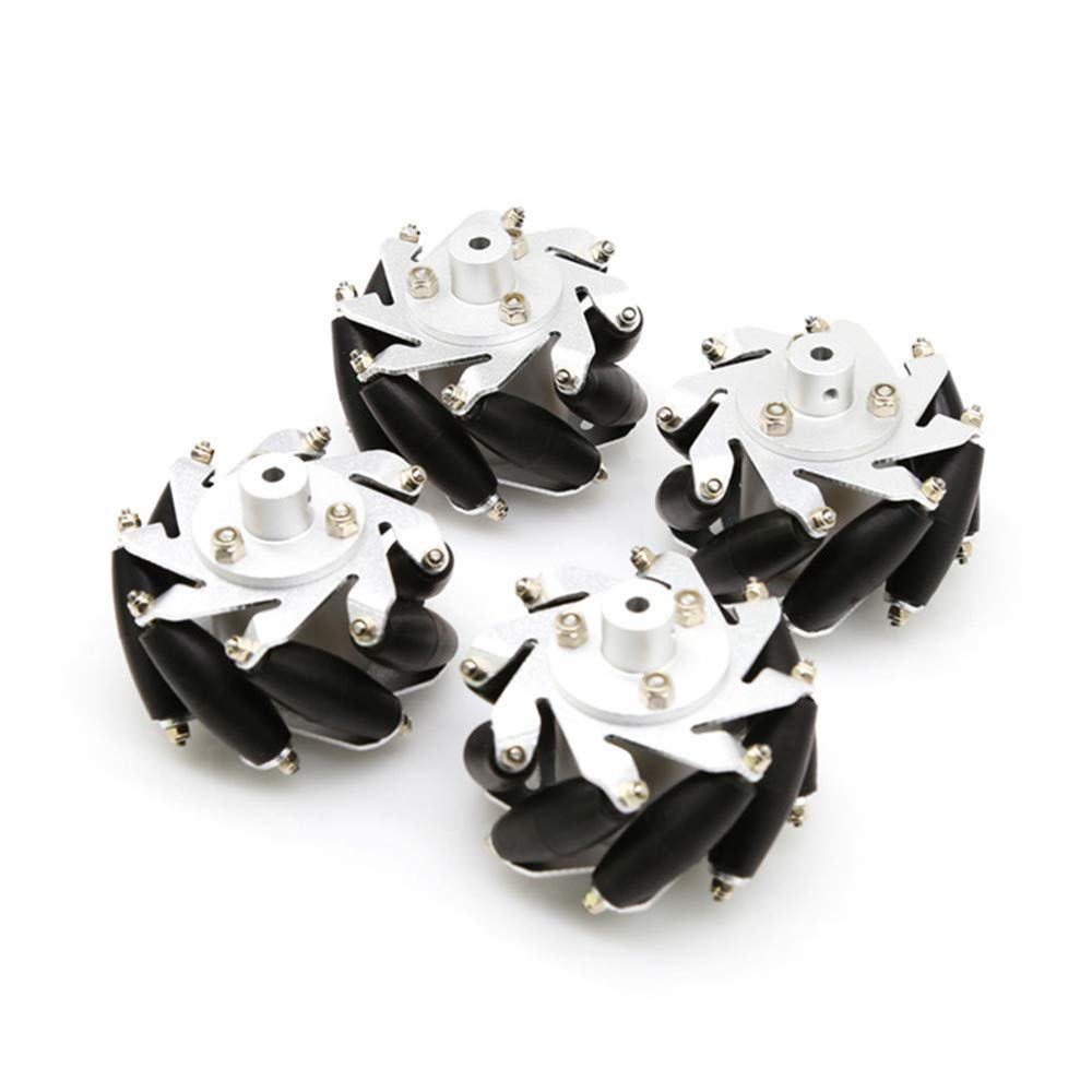 Moebius 60mm Mecanum Wheel 4 Pack Omni Wheels for Lego NXT and Servo Motor with 6mm Metal Hubs for Arduino / STM32 DIY Robot Project