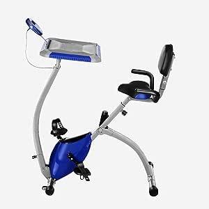 FANGDA Inicio Bicicleta estática Plegable Control magnético Bicicleta Fitness Stepper Bicicleta giratoria 3 en 1 Mesa de Estudio/Silla/Bicicleta estática Fitness Equipment,Blue: Amazon.es: Hogar