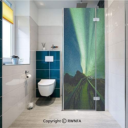 RWNFA Non-Adhesive Privacy Window Film Wooden Bridge Solar Sky Scenic Radiant Rays Arctic Magic Scenery Door Sticker Glass Film 17.7 in. by 47.2in. (45cm by 120cm),Fern Green Dark Blue