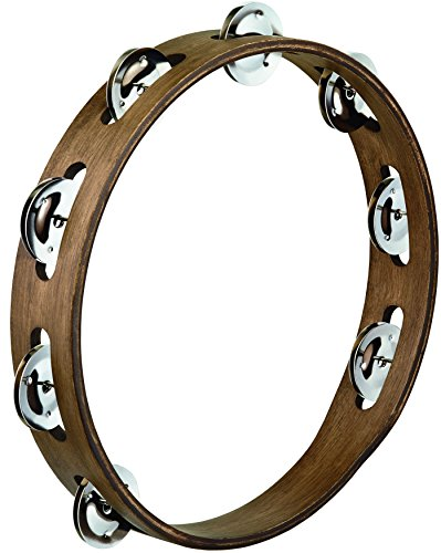 Meinl Percussion TA1WB 10-Inch Wood Tambourine with Single Row Stainless Steel Jingles, Walnut Brown Finish