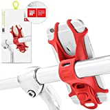 Universal Bike Phone Holder, Bicycle Handlebar Stroller Mount for iPhone 8 Plus 7 6S, Samsung Galaxy S8 S7 Note 6, Any 4 to 6 inch Cell Phone Android Smartphone, Bike TIE Series - Red