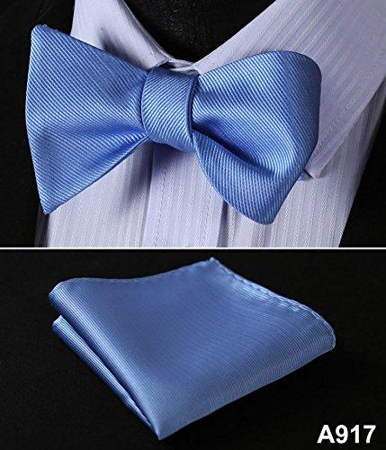 A917 Wedding Butterfly Self Bow Tie Pocket Square Handkerchief BowTie Set 100/%Silk Jacquard Woven Men bow tie