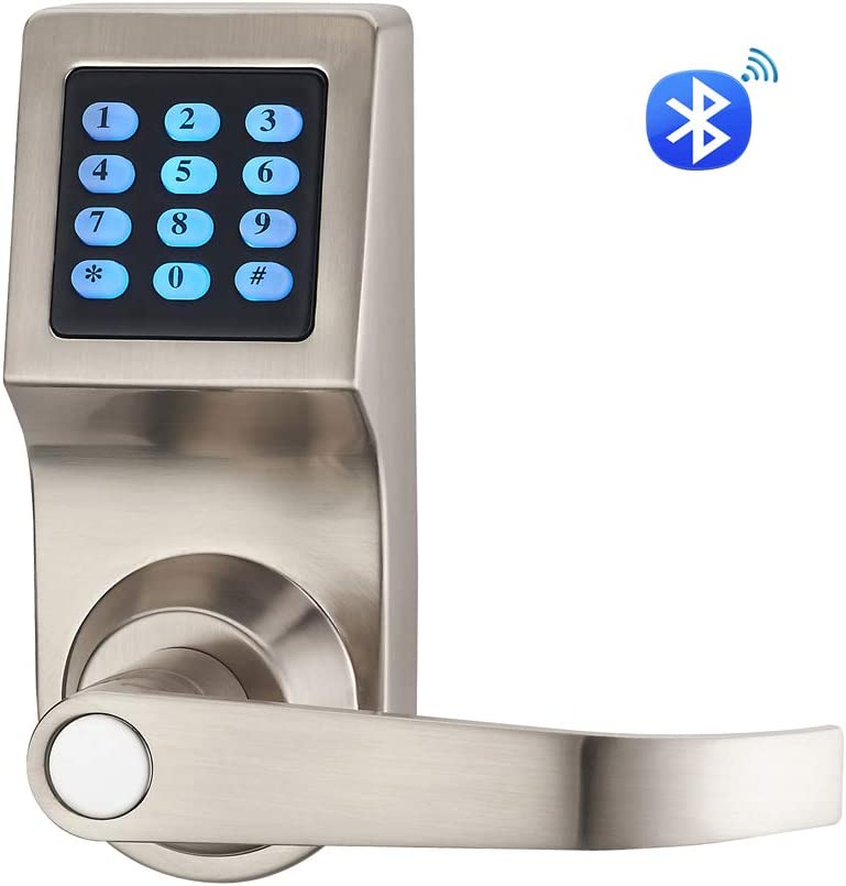HAIFUAN D6300 Bluetooth Digital Door Lock, Satin Nickel,Open by Card,Code,Key APP, Compatible with Alexa via Gateway HFAD6300B-R