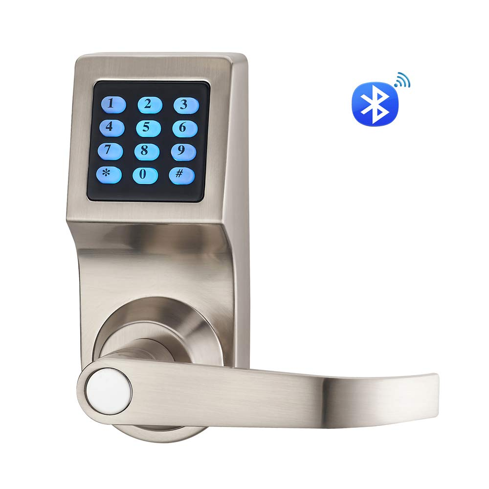 HAIFUAN D6300 Bluetooth Digital Door Lock, Satin Nickel,Open by Card,Code,Key& APP, Compatible with Alexa via Gateway (HFAD6300B-R)