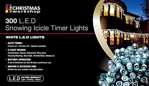 the christmas workshop 300 led battery operated snowing icicle timer