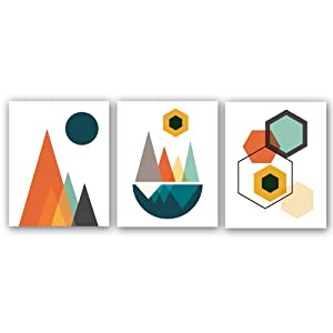 "Homdeco Mid Century Abstract Geometry Wall Art Picture Artworks Set of 3 (8""X10"") Canvas Painting Modern Art, Abstract Sunrise Art Print for Bedroom Living Room Wall Decor,No Frame"