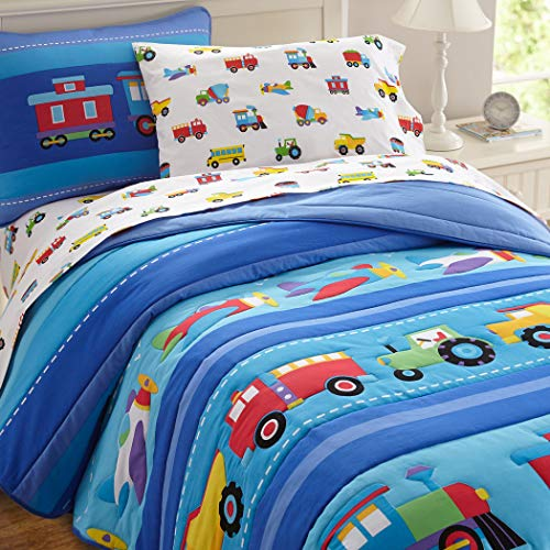 (3 Piece Kids Blue Red Boat Sheet Twin Set, Cute Yellow Purple Train Bedding School Bus Space Ship Pattern Airplane Hot Air Balloon Stripe Patterns Helicopter Tractor Trucks Children Room Polyester)