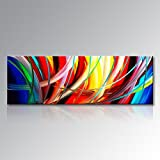 Seekland Art Handmade Acrylic Painting Abstract Canvas Wall Art Modern Contemporary Artwork for Home Decoration (Framed 48'' W x 16'' H)