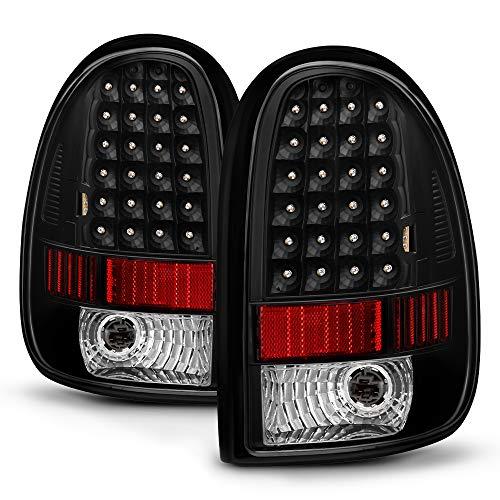 VIPMOTOZ LED Tail Light Lamp For 1996-2000 Dodge Grand Caravan, Chrysler Voyager Town & Country - Matte Black Housing, Driver and Passenger Side