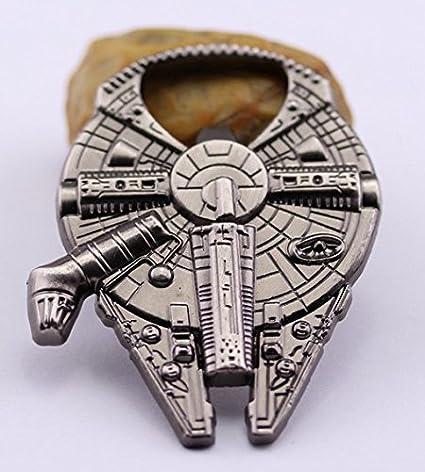 Abrebotellas Star Wars de Bayram - Llavero Abrebotellas de Metal del Halcón Milenario de la Guerra de las Galaxias - Regalo Original Para Casa o Bar