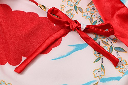 Yukata Women's Japanese Traditional Geisha & Sakura Satin Kimono Robe, Red L by Joy Bridalc (Image #4)
