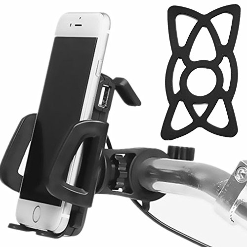 2 in 1 Waterproof 12V to 85V Electric Bike ATV Motorcycle Cell Phone Holder Mount with USB Charger / Power Switch / 3.3FT Power Cable / Safety Bands (Black)