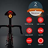 Nkomax Smart Bike Tail Light Ultra Bright, Bike Light Rechargeable Auto On/Off, IPX6 Waterproof LED Bicycle Lights, High Intensity Rear LED Accessories Fits On Any Road Bikes, Easy to Install
