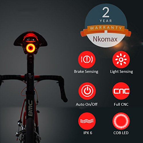Nkomax Smart Bike Tail Light Ultra Bright, Bike Light Rechargeable Auto on-Off, IPX6 Waterproof LED Bicycle Lights, High Intensity Rear LED Accessories Fits On Any Road Bikes, Easy to (Any Brake)