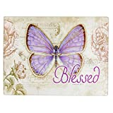 Botanic Butterfly Blessings ''Blessed'' Glass Cutting Board / Trivet (Large: 15 3/4 x 11 7/8)