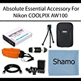 Absolute Essential Accessory Kit For Nikon COOLPIX AW100 Waterproof Digital Camera Includes Extended Replacement EN-EL12 Battery + Ac/Dc Travel Charger + Mini HDMI Cable + USB 2.0 Card Reader + Deluxe Case + Mini Tripod + Float Strap + More