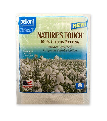 Crib Size Batting (Pellon Nature's Touch Natural Cotton Packaged Batting, Available in Multiple Sizes)