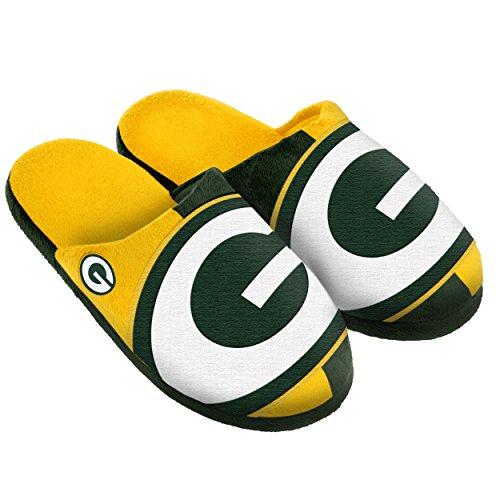 (Green Bay Packers Split Color Slide Slipper Large)