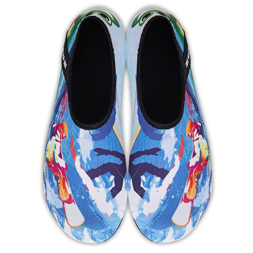 Water Blue Womens Mens Quick Barefoot Aqua Yoga Beach Socks and Kids Swim Shoes Surf for Dry Surfing Exercise rqa5wrt1x