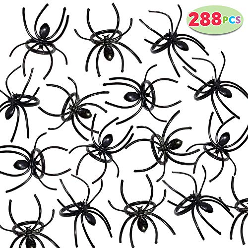 JOYIN 288 Pieces 2 Plastic Spiders Rings Bulk, Perfect for Costume Accessories, Halloween Spider Party Favors Supplier, Trick or Treat Toys Kids Fun, Novelty Prank