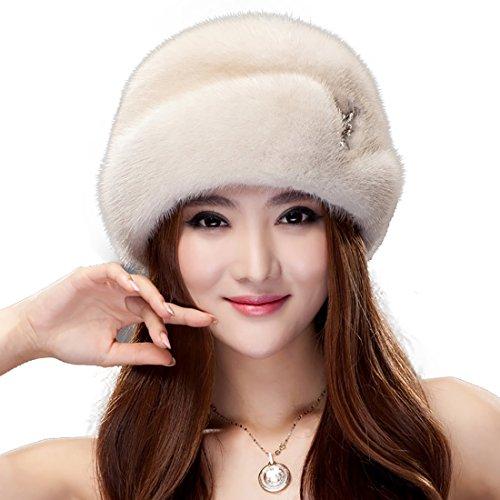 URSFUR Mink Fur Women's Beanies Hat Pearl Beige by URSFUR