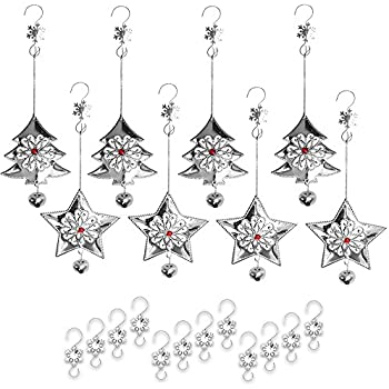 metal christmas ornaments and hooks 16 piece set of assorted 3 silver holiday xmas - Metal Christmas Ornaments