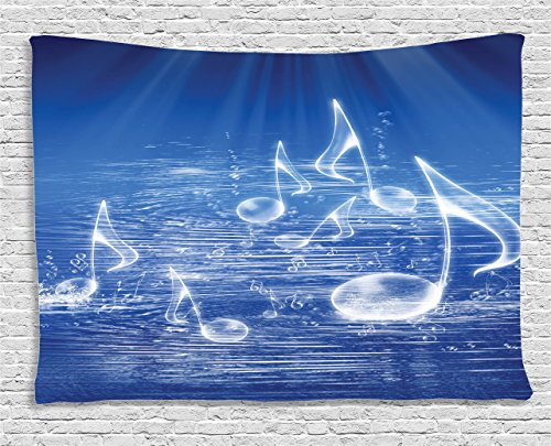 Music Decor Tapestry by Ambesonne, Magical Water with Musical Notes Bubbles and Dancing Waves Fantasy Music More Than Real, Wall Hanging for Bedroom Living Room Dorm, 80 W X 60 L Inches, Blue - Water Wall Tapestry
