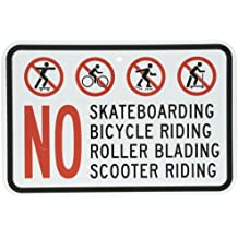 """SmartSign Aluminum Sign, Legend No Skating Bicycle Scooter Riding Rollerblading with Graphic, 12"""" high x 18"""" wide, Black/Red on White"""