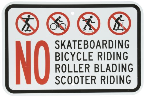 "SmartSign Aluminum Sign, Legend ""No Skating Bicycle Scooter Riding Rollerblading"" with Graphic, 12"" high x 18"" wide, Black/Red on White"
