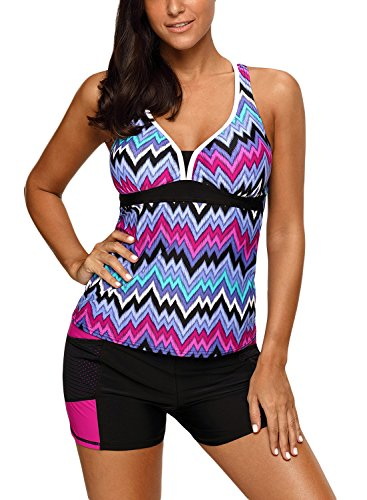 on Sexy Cute Bandeau Color Block Maternity Printed Tummy Control Padded Plus Size Tankini Swimsuit Tops Bathing Suit Swimwear Under 20 Purple XXL (Cute Color Printed)