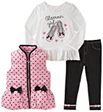 Kids Headquarters Baby Girls' 3 Pc Puffy Vest Sets, White/Pink, 24M