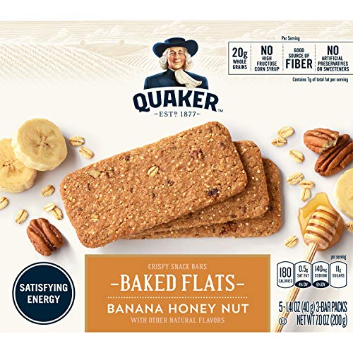 Quaker Baked Flats, Banana Honey Nut,  5-3 Bar Packs (Pack of 8) ()