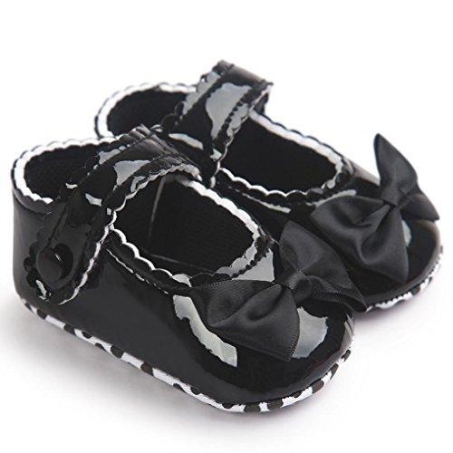 BZLine® Baby Mädchen Bowknot Leder weiche Sohle Schuhe Krabbelschuhe Schwarz