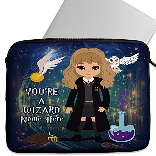 KRAFTYGIFTS Personalised 12″ – 14 Laptop Sleeve HARRY WIZARD WITCH Neoprene Girls Children School Travel Cover Bag Universal Case Inch Tablet ET06 – ADD NAME