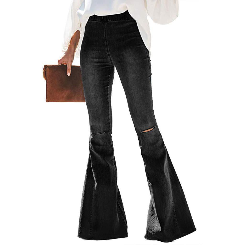 WUAI-Women Juniors High Waist Strentch Bell Bottom Flare Jeans Wide Leg Denim Pants(Black,X-Large) by WUAI-Women