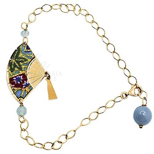 Bracelet Fujiyama éventail Mini Argent Soie pierres color bleu clair dégradé Lebole Bijoux 9zixxfm
