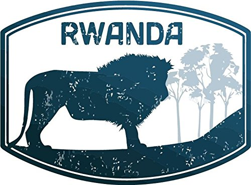 Rwanda Africa Lion Travel Rubber Stamp Sticker Decal Design 5